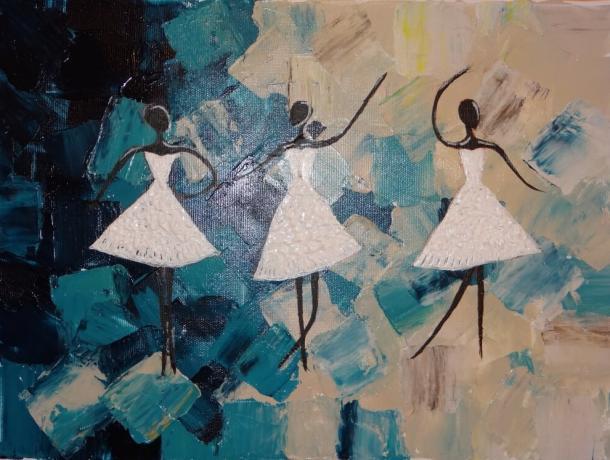 Örömfestés táncosnők