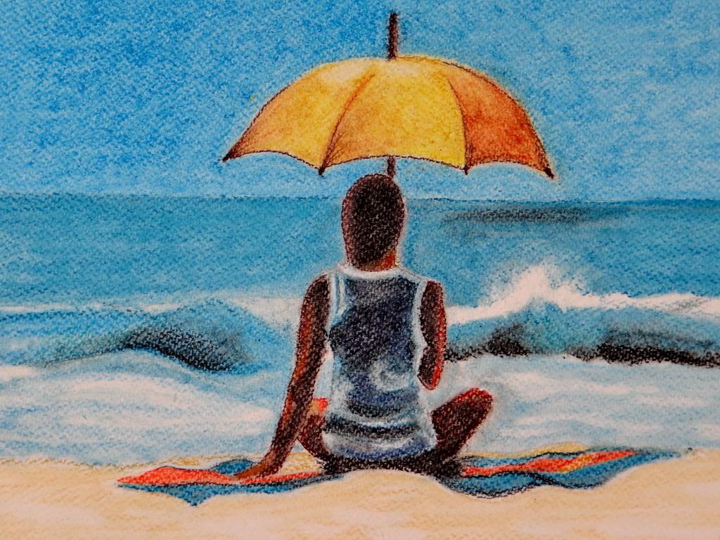Nő a parton - pasztell