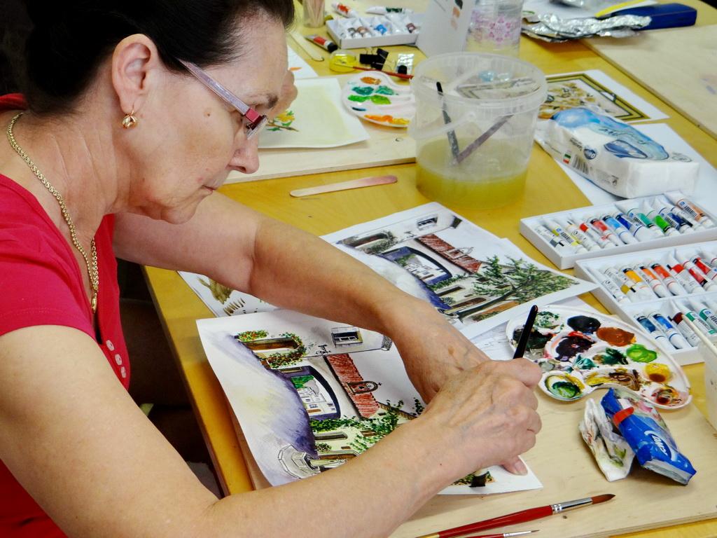 Festőtanfolyam életkép - készül az akvarell festmény