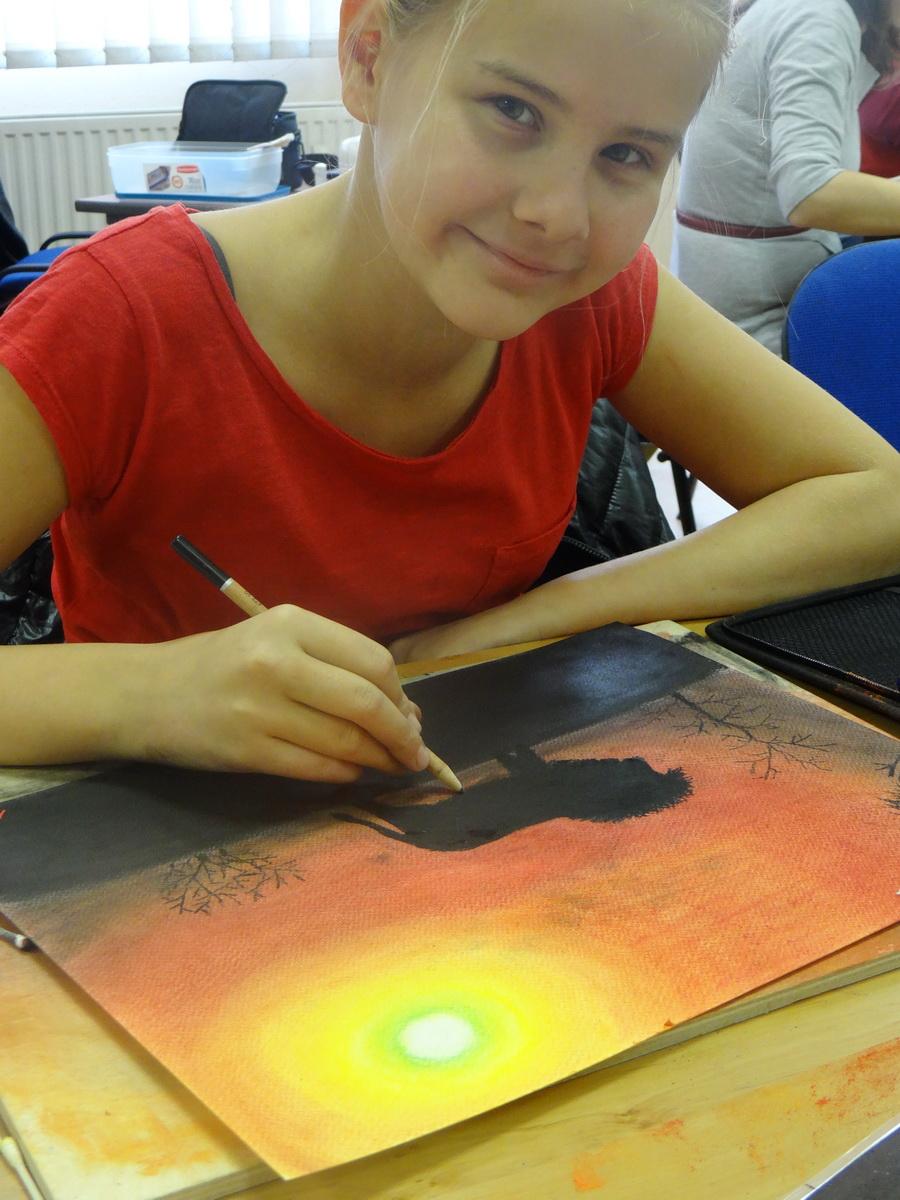 Szavanna-pasztell ceruzával készül