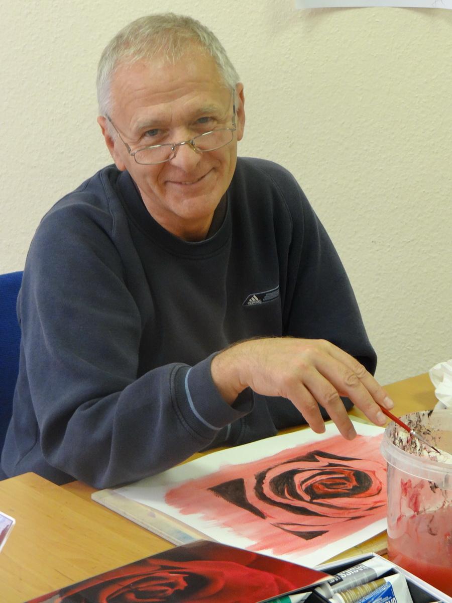 Festőtanfolyam életkép-készül a rózsa