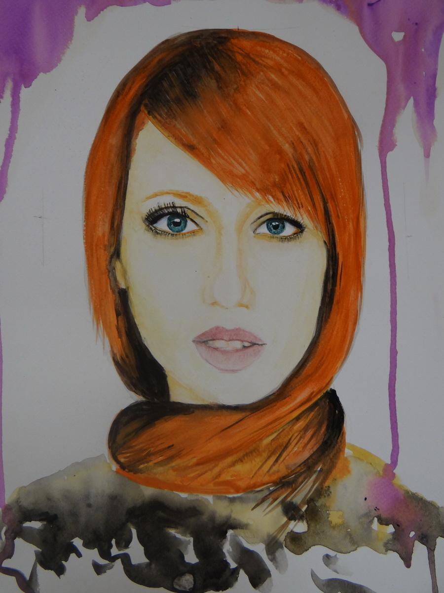 Vöröshajú lány-akvarell festmény