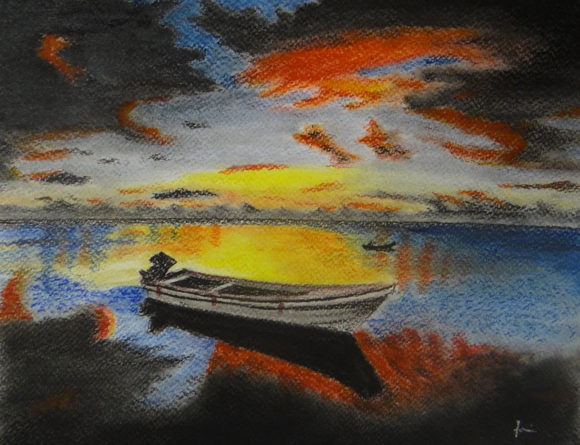 Csónak a parton-akvarell festmény