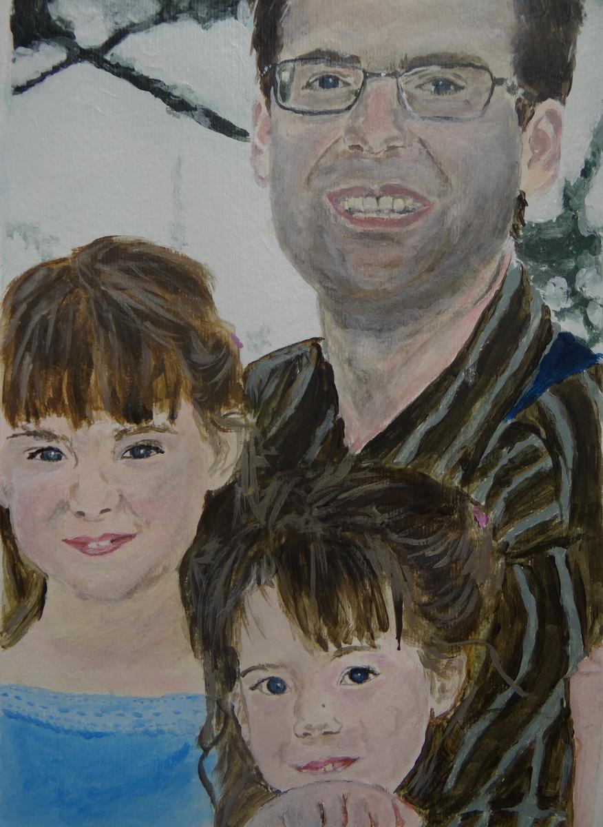 Családi kép-akril festmény