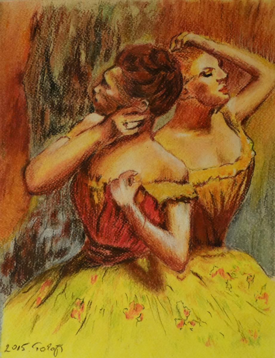 Degas-Két táncosnő reprodukció