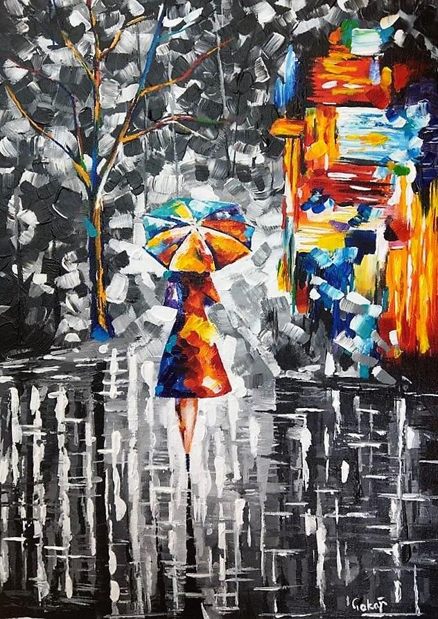 Séta az esőben - Afremov reprodukció