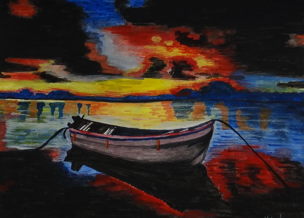 Magányos csónak - Akvarell technika